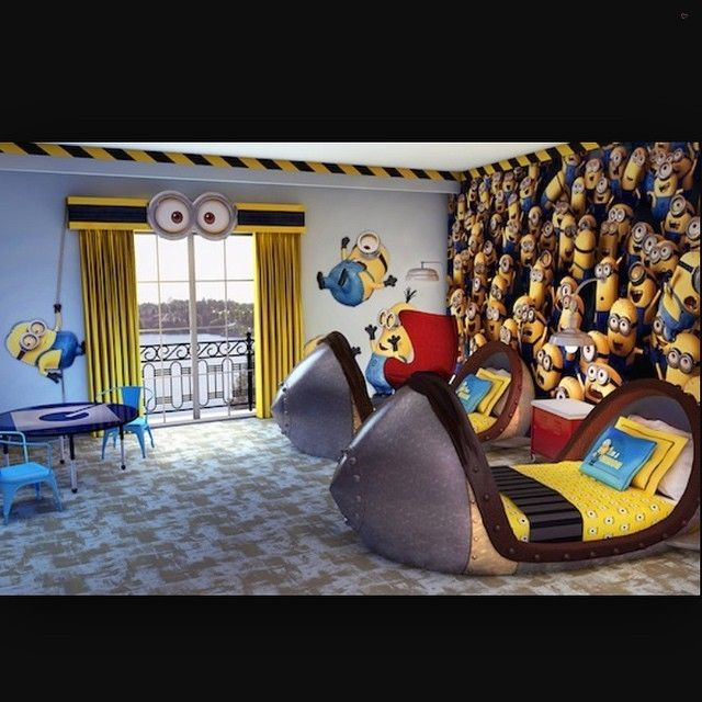 Minion room at Loews Portofino Bay Hotel at Universal in Orlando, FL @officialuniversalorlando... - Home Decor For Kids And Interior Design Ideas for Children, Toddler Room Ideas For Boys And Girls