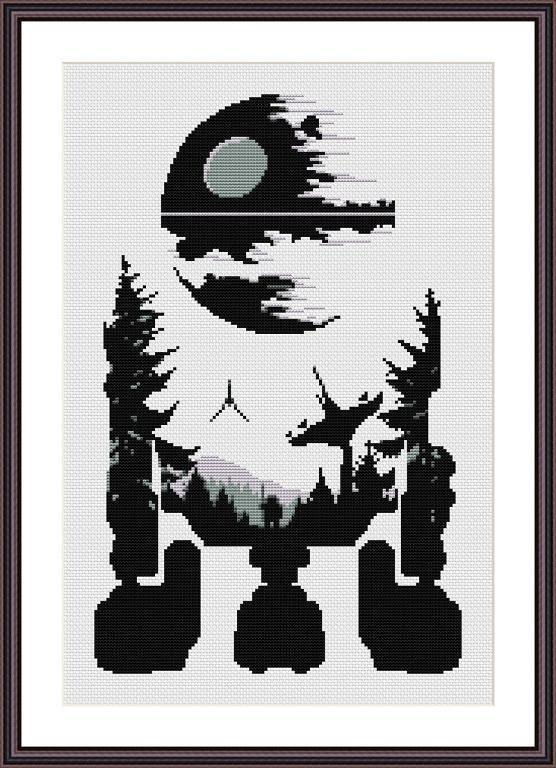 (10) Name: 'Embroidery : Star Wars Cross Stitch PDF pattern R2D2