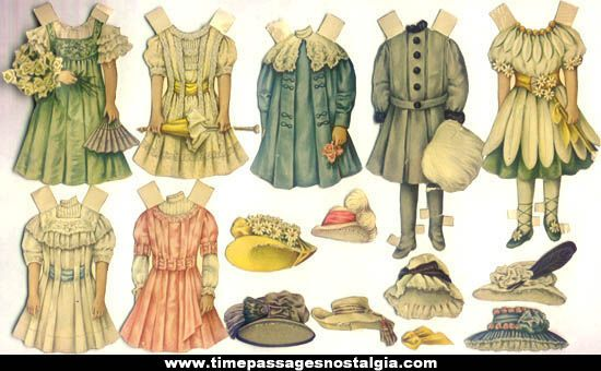vintage children paper doll clothes image | 15) Different 1800s Victorian Paper Doll Dresses and Hat s
