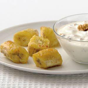 Recept - Gegrilde bananen met walnotenyoghurt - Allerhande