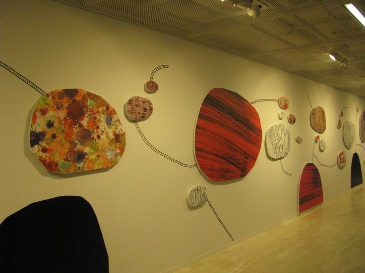 Kaisa Library, Helsinki University. Wall art, possibly on fibreboard.