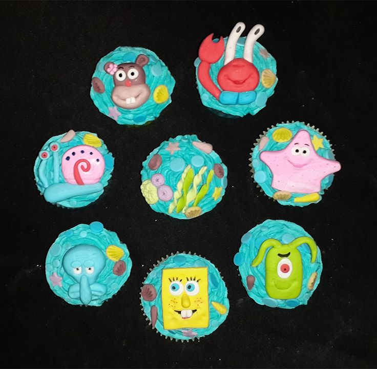 Sponge Bob & Friends cupcakes (Decor available for sale separately) For more info or orders email SweetArtBfn@gmail.com; Call 0712127786; Follow me on Facebook https://www.facebook.com/groups/SweetArtCakesBloemfontein/