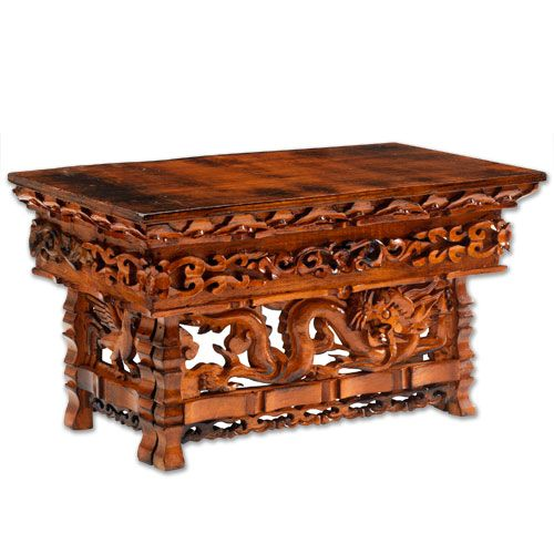 ... Powerful Birds), Buddhist Symbols Of Protection And Wisdom, Emblazon  The Foldable Legs Of This Elaborately Hand Carved Meditation Altar Table.