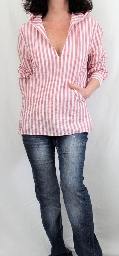 Michael Bastian Cotton L Sleeve Notch Neck Striped Hooded Tunic Red Sz M #MichaelBastian #Tunic