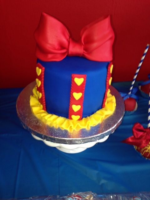 Cute cake at a Snow White Birthday Party!  See more party ideas at CatchMyParty.com!