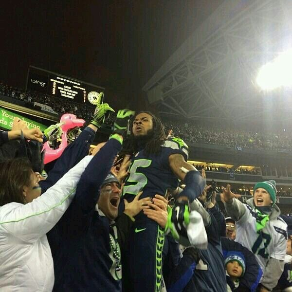 "Richard Sherman/Seahawks version of the ""Lambeau Leap"" after the 2014 NFC Championship game."