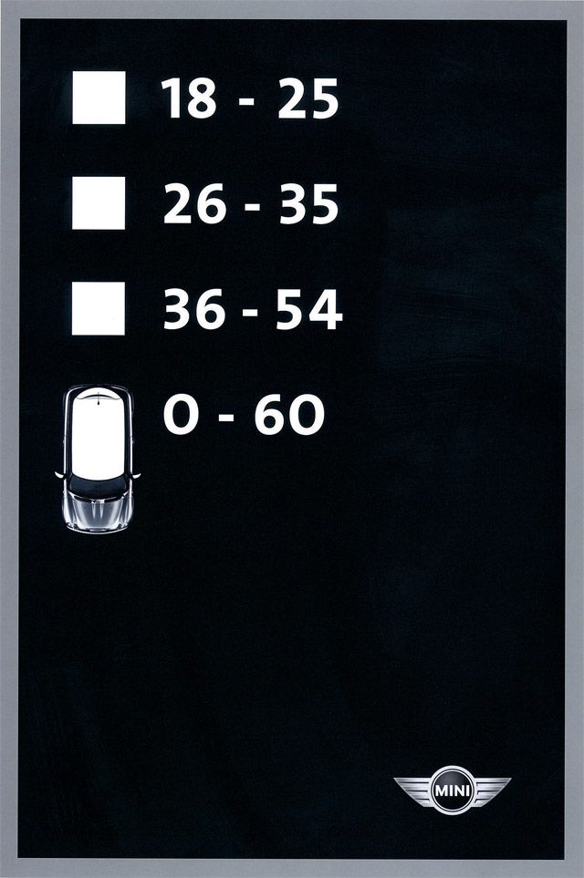 this Mini Cooper campaign features various checklists for someone to hypothetically choose from. I like how these spots get their point across so simply. This one is a clever take on age demographics. (for Mini Cooper, 2004 One Show Silver Pencil winner)