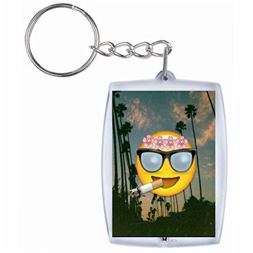 Porte-Clés «Vacances Cooler fumeurs Emoji à Paradisd'été», Keychain- Smiley- Emoji- Astuces de Noël: Porte-clés Emoji cool avec un sens…