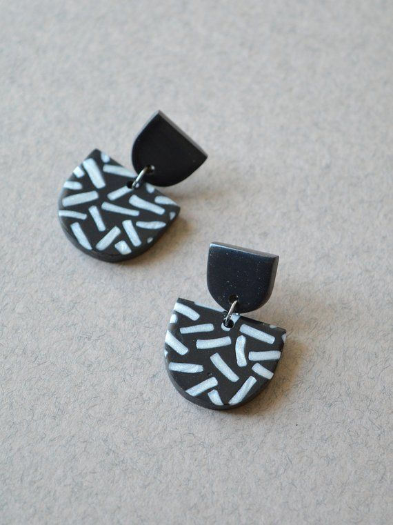 Polymer Clay Earrings Striped Jewelry Neutral Earrings