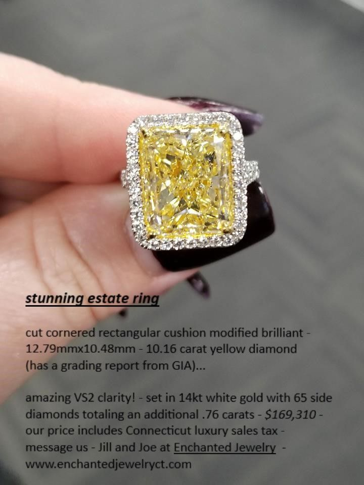 Estate 10 Carat Yellow Diamond Enchantedjewelry With Images Enchanted Jewelry Yellow Diamond Diamond