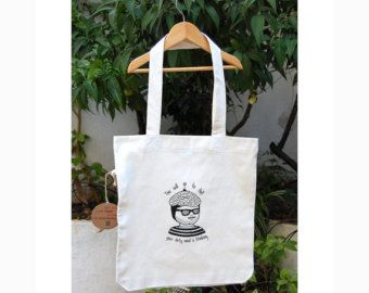 Dirty Mind Moustache Man 100% Recycled Materials Silkprinted Koumpaki Tote Bag/Dirty Funny Moustache Man Radiohead Lyrics Inspired Tote Bag*