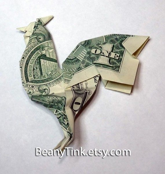 I need my son to make this for me (yes, he's a wiz at origami.  -Sam..............Dollar Origami Rooster