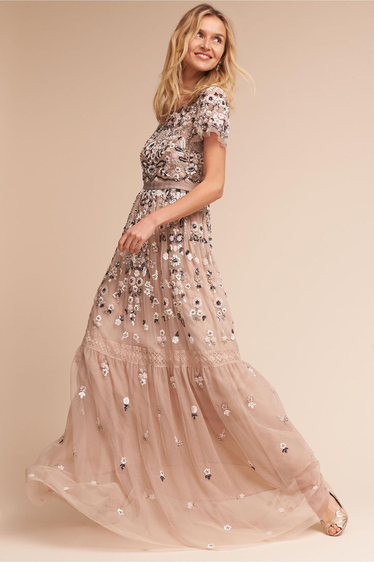 BHLDN Champagne Everley Gown in  New | BHLDN