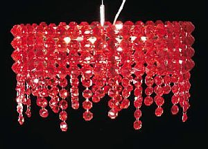 Amazing Ceiling Light In Crystal Red.