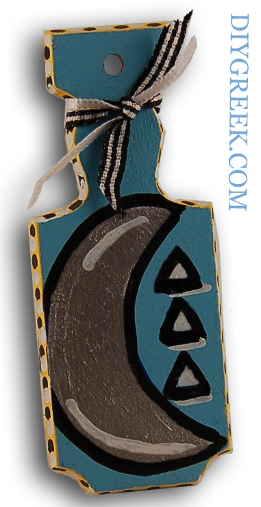 """Mini Paddle (4"""") from DIYGreek. Tri Delta. Used the Stencil, Ribbon, Paint Pens and Paints to make this. Could use on a key ring, car charm, package tag, and more. #tri delt, #delta delta delta, #paddle, #little sister, #sorority,  #greek, #craft"""