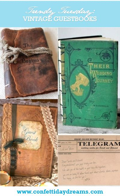 Trendy Tuesday: Vintage Wedding Guestbook ideas