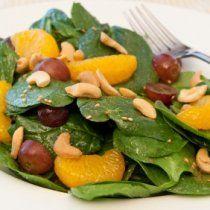 Receta de Ensalada de Espinacas, nuez de la india con Mandarinas