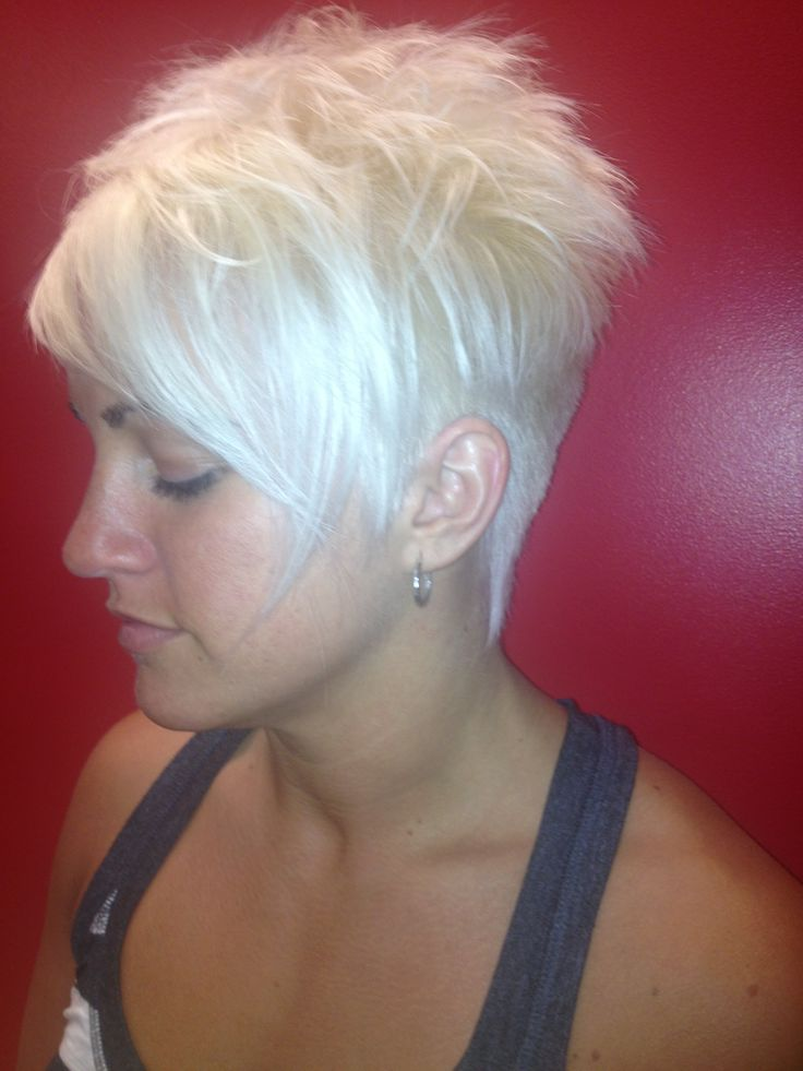 Funky blonde pixie cut I like the idea of a pixie cut because it'd be easy to change the color up for a new look and you have the option of really playing up your makeup to look super fierce or soft and subtle. :)