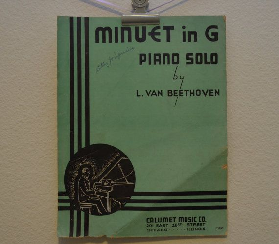 Vintage 1935 Minuet in G Piano Solo Music by FloridaFindersPaper, $10.00