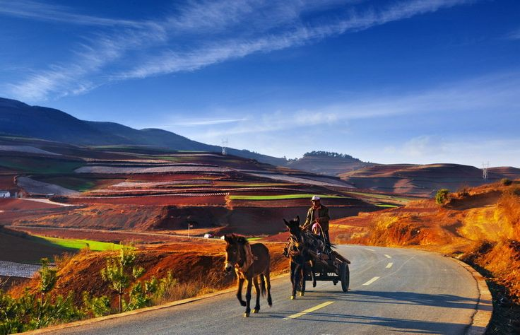 farmers way home Beautiful landscape in northeast of Yunnan Chinese natural scenery