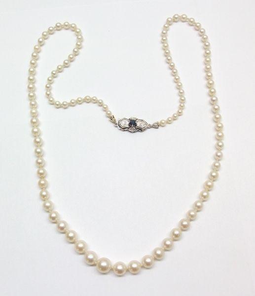 Vintage Halsschmuck - Echte Perlenkette 585/14k Weißgold Saphir PK100 - ein…