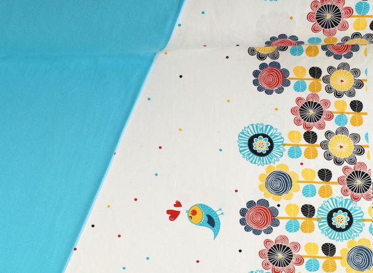 Stoffpakete - 977 Stoffpaket Jersey Blumenrand  1,25m - ein Designerstück von pretty-child bei DaWanda