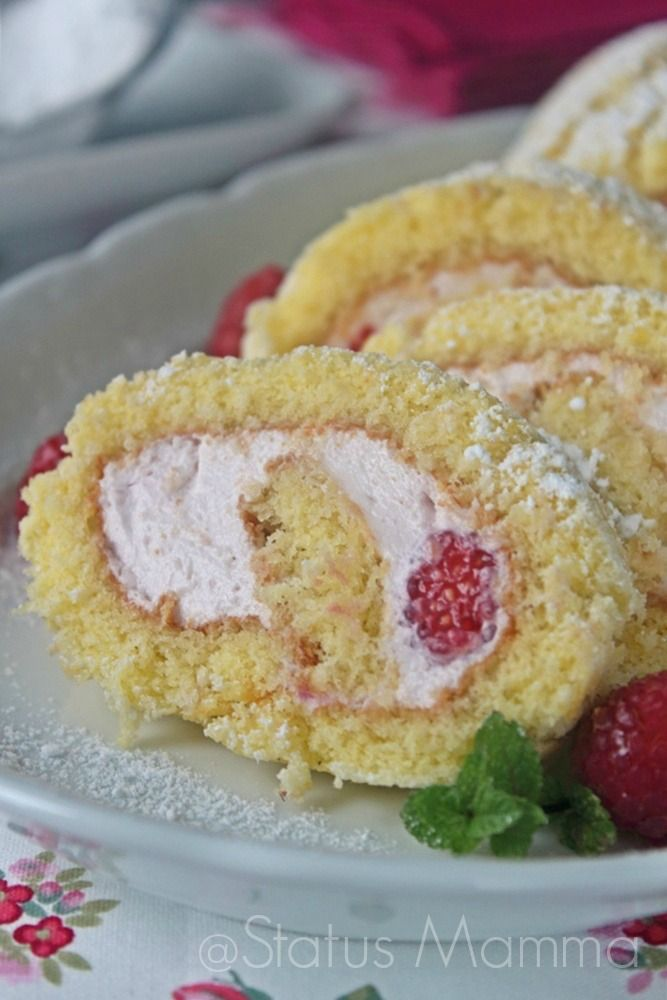 Rotolo di pasta biscotto con crema ai lamponi | Status mamma
