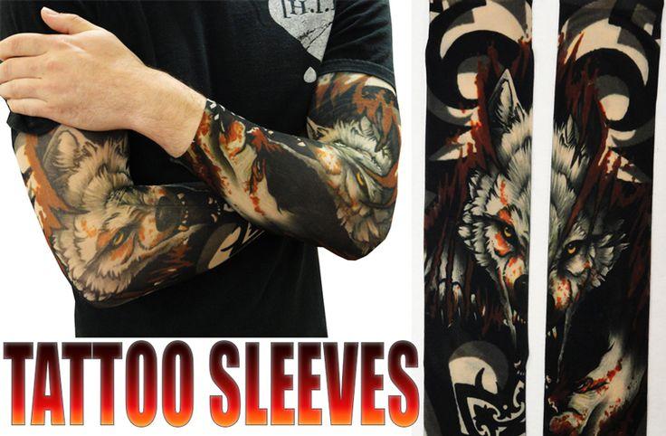 Tattoo Sleeves - Vicious Wolf Fake Tattoo Sleeves (Pair)