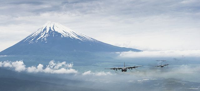 Coming 'round the mountain by Official U.S. Air Force, via FlickrC 130 Hercules, Cargo Aircraft, Mt Fuji, Aircraft Fly, Hercules Cargo, Mount Fuji, C130 Hercules, Training Mission, Us Air Force