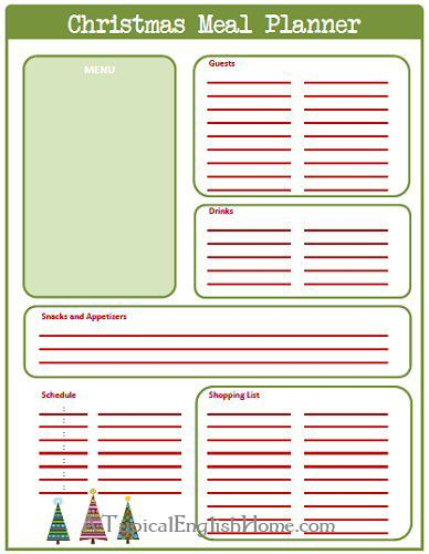 A Typical English Home Christmas Planner Week  Meal Planner Activity Planner Traditions Planner Christmas Pinterest Christmas Christmas