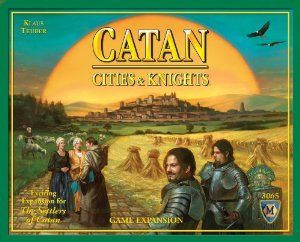 April 2016 - What I'm Playing - Board Games - Catan with the Cities and Knights Expansion Kit - This adds a new element to the original game of Catan, giving you Knights to protect your cities, a barbarian to hurt your city, and development cards that allow you to move up in ranks. In does, however, expand your playing time by a few hours... making it an afternoon event! (not an affiliate link, endorsement, or sponsorship) #Boardgames #FamilyNight #Games