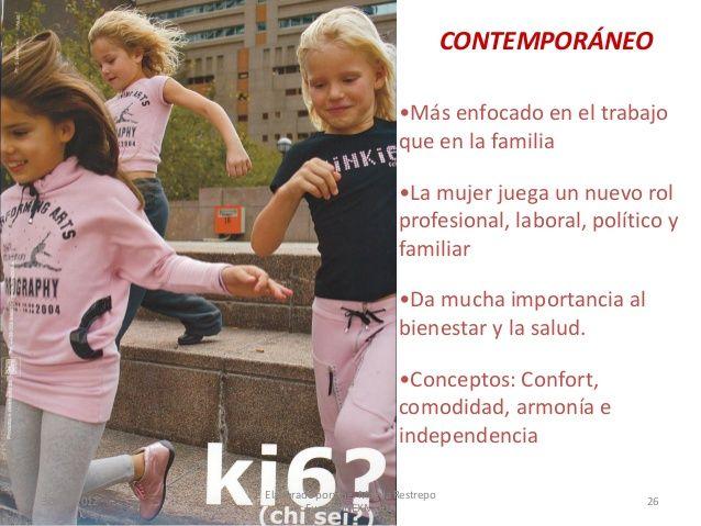 CONTEMPORÁNEO •Más enfocado en el trabajo que en la familia •La mujer juega un nuevo rol profesional, laboral, político y ...