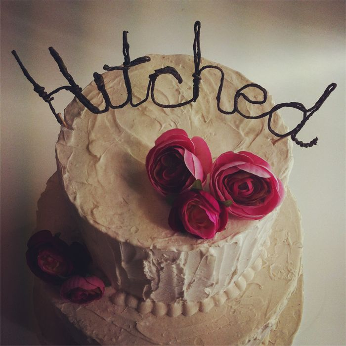 """""""Hitched"""" DIY Cake Topper   Flowers By The Vase   madeit.com.au"""