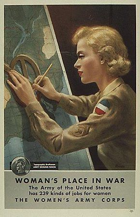 """Women's Place In War"" ~ WWII Women's Army Corps recruiting poster, ca. 1940s."
