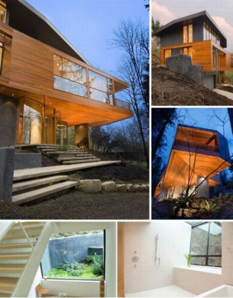 Hoke House, Portland OR designed by architect Arthur Erickson. Also used as  the Cullen Residence from the