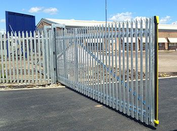 An opening cantilever palisade gate for a plant, the gate with palisade fence…