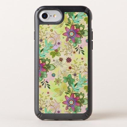 Colorful Girly Cute Retro Chic Flower Pattern Speck iPhone Case - artists unique special customize presents