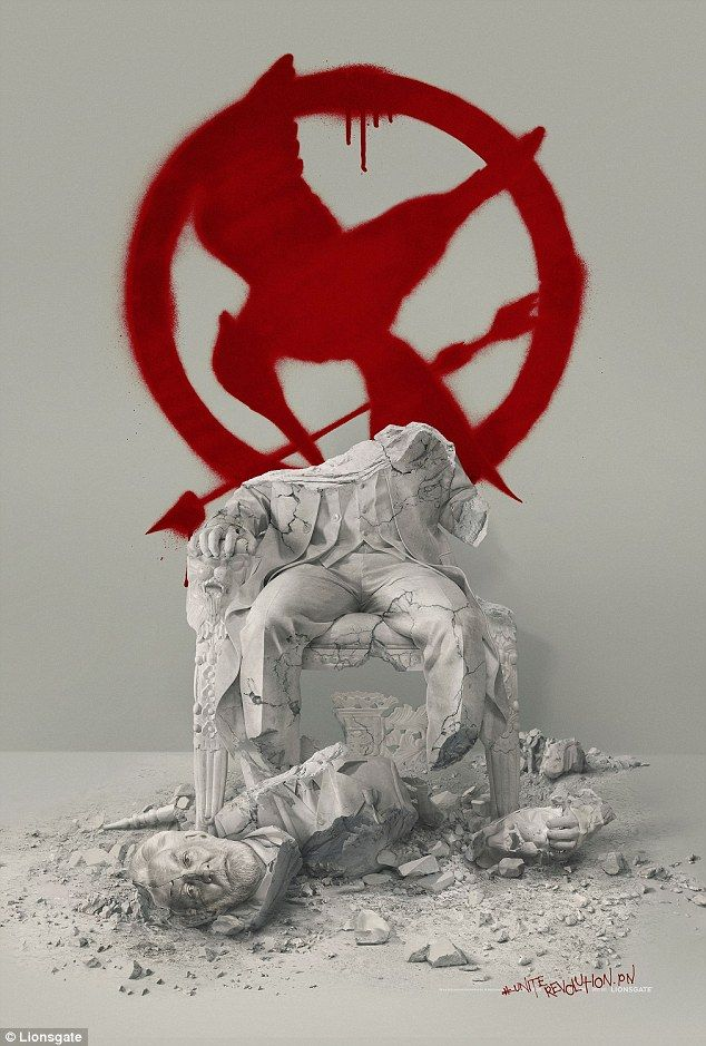 Drip feed: On Monday Jen shared this image from Mockingjay - Part 2 that showed the revolutionary symbol above a broken statue of President Snow