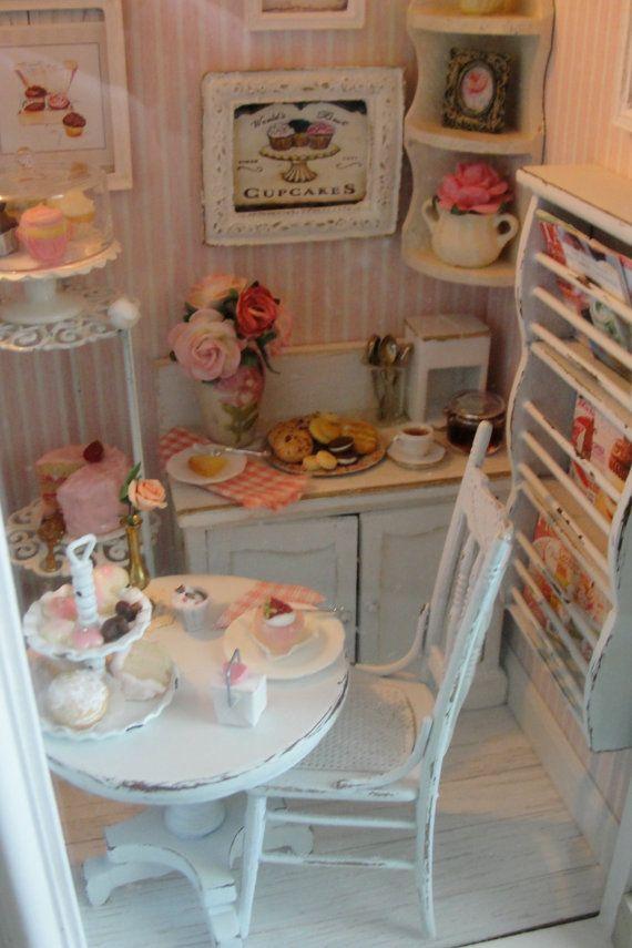 Miniature filled bakery shadow box with light by Kimsminibakery