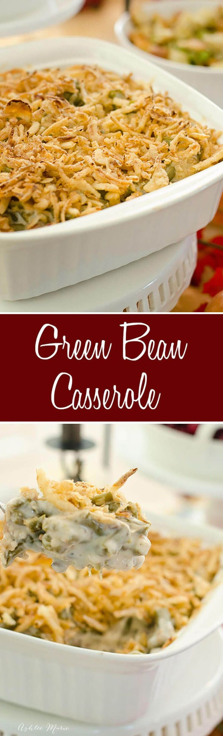 A classic and delicious thanksgiving dish, this green bean casserole is oh-so-delicious via @ashleemariecakes