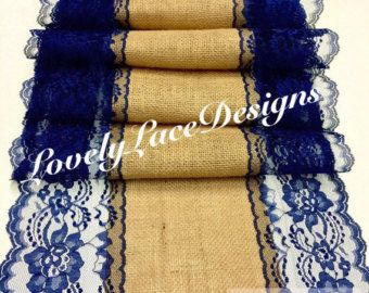 NAVY BLUE Burlap Lace Table Runner, Wide / Wedding Decor, Nautical/Rustic  Weddings/Tabletop Decor/Etsy Finds By LovelyLaceDesigns On Etsy