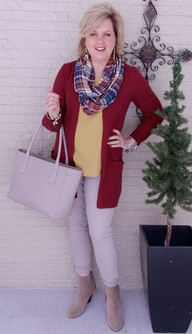 50 IS NOT OLD | PLANNING AN OUTFIT AROUND YOUR ACCESSORIES | Plaid | Cardigan | Mustard | Fall Colors | Fashion over 40 for the everyday woman