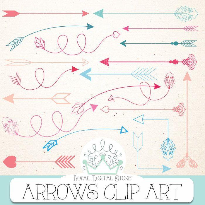 "Arrow clip art: "" ARROWS CLIP ART"" with arrow clipart, hand drawn arrows, digital arrow, arrows clipart + 1 Free old digital paper #pink #blue #tribal #romantic #digitalpaper #scrapbookpaper"