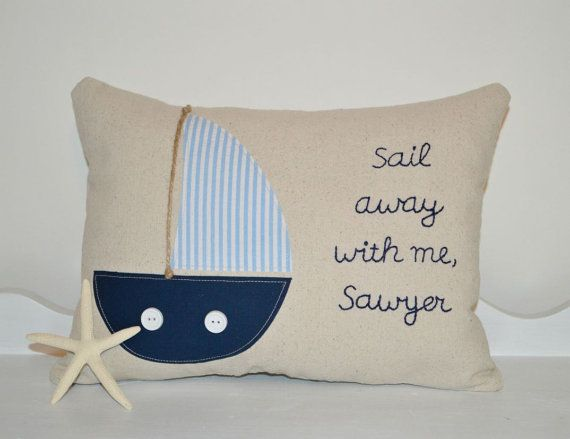 Nautical Sailboat Pillow, Personalized Nautical Nursery Decor, Nautical Pillow on Etsy, $35.00