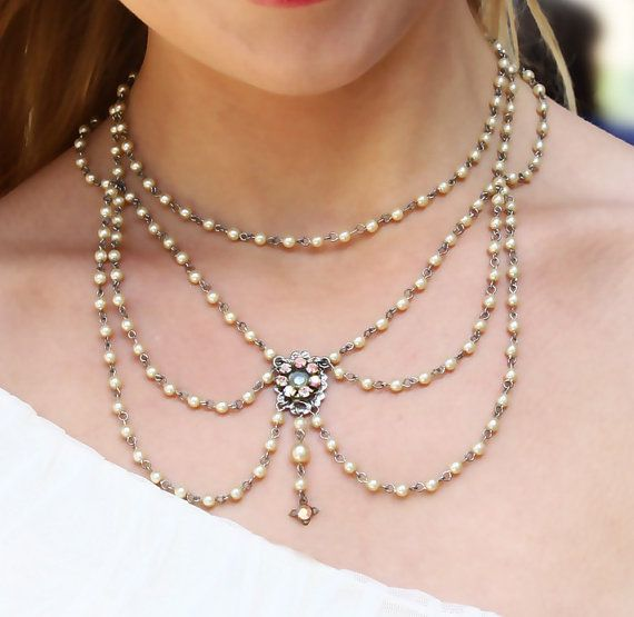 Weddings bridal Beadwork Necklace With Ivory  by mylittlebride, $250.00
