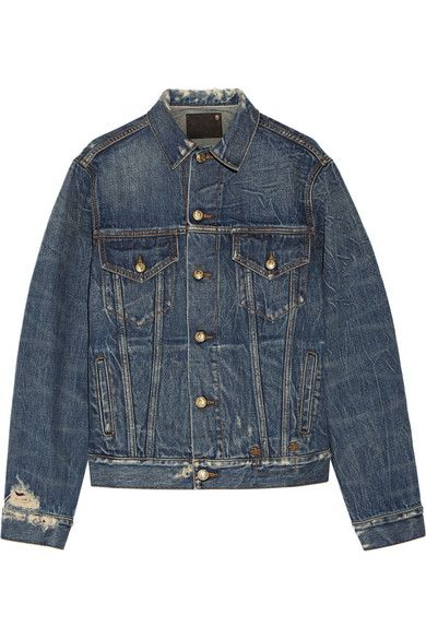 "Shades of Ziggy Stardust with rocking red leather letters ""REBEL REBEL"" splayed across the back of this lovingly distressed blue denim jacket. Just right for transitioning to spring while simultaneously saluting David Bowie. Women's embroidered distressed denim jacket by R13 via @netaporter (https://www.youtube.com/watch?v=U16Xg_rQZkA) #SS2016"