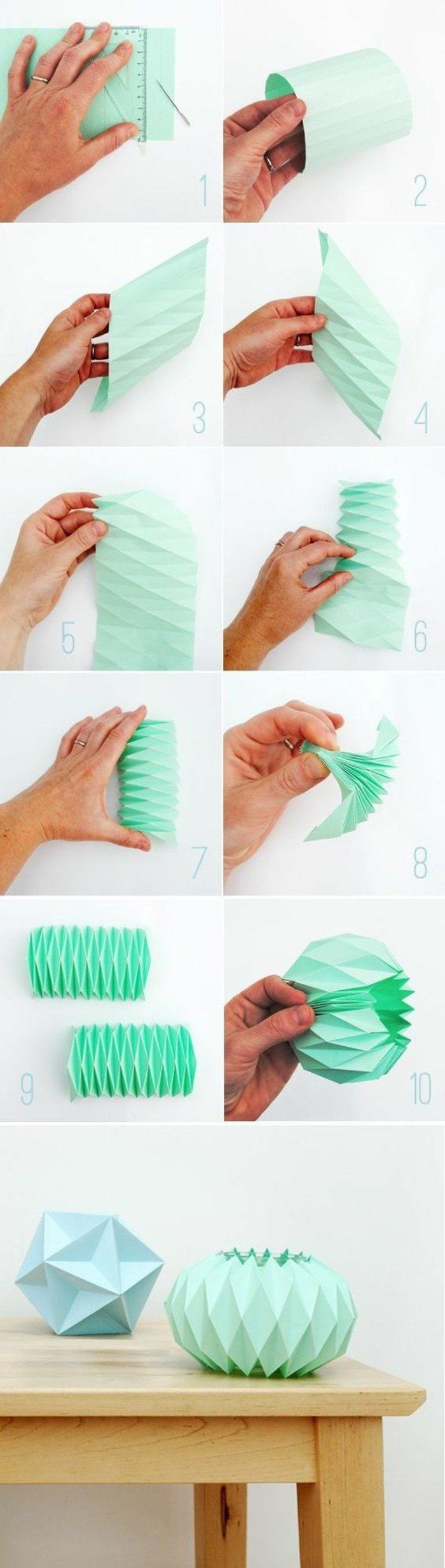 les étapes pour fabriquer un abat jour origami en papier vert, technique de pliage origami originale