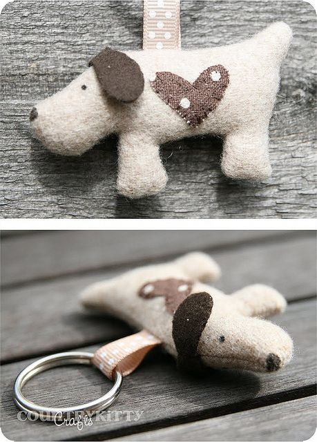 sweet dog key chain or ornament