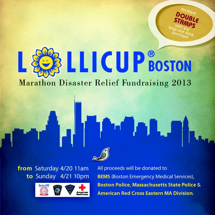 Lollicup Boston will be holding a fundraising event this weekend to support the victims of the Boston Marathon Disaster. Please come, share, and support! ♥