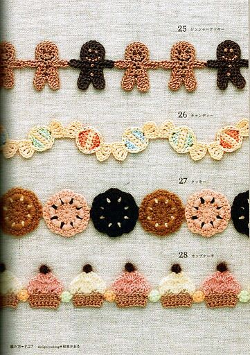 FREE Cupcake Cookie Candy and Gingerbread Man Edging Crochet Chart Pattern / Tutorial